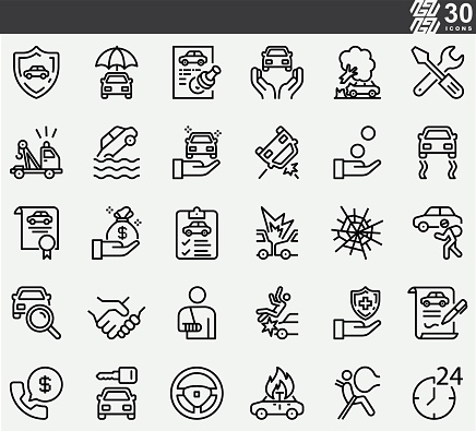 Car Insurance , Accident Line Icons