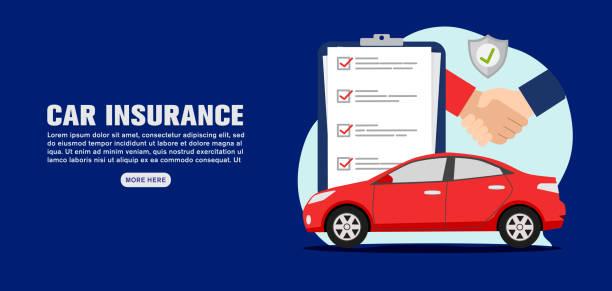 Car insurance banner concept, vector illustration vector art illustration