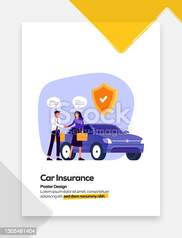 Car Insurance Concept Flat Design for Posters, Covers and Banners. Modern Flat Design Vector Illustration.