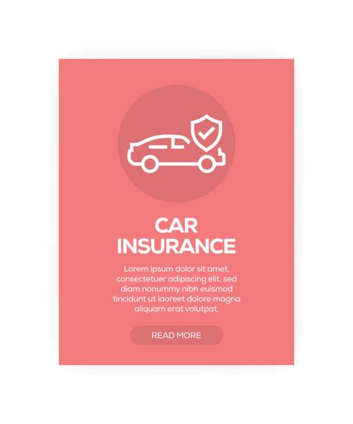 bildbanksillustrationer, clip art samt tecknat material och ikoner med bil försäkring koncept - krockad bil