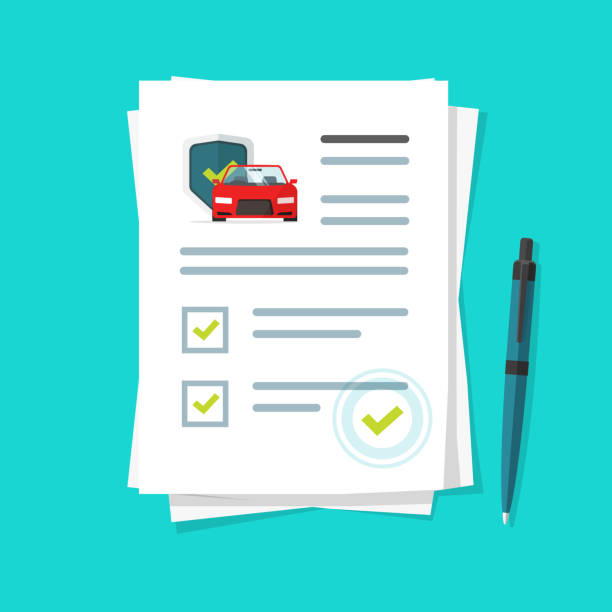 car insurance document report vector illustration, flat cartoon paper agreement checklist or loan checkmarks form list approved with automobile under umbrella icon, vehicle financial, legal deal - formularz wniosku stock illustrations