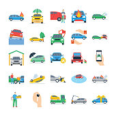 Car Insurance Flat Icons Pack