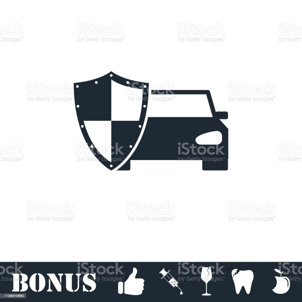 Car Insurance Icon Flat Stock Illustration Download Image Now Istock