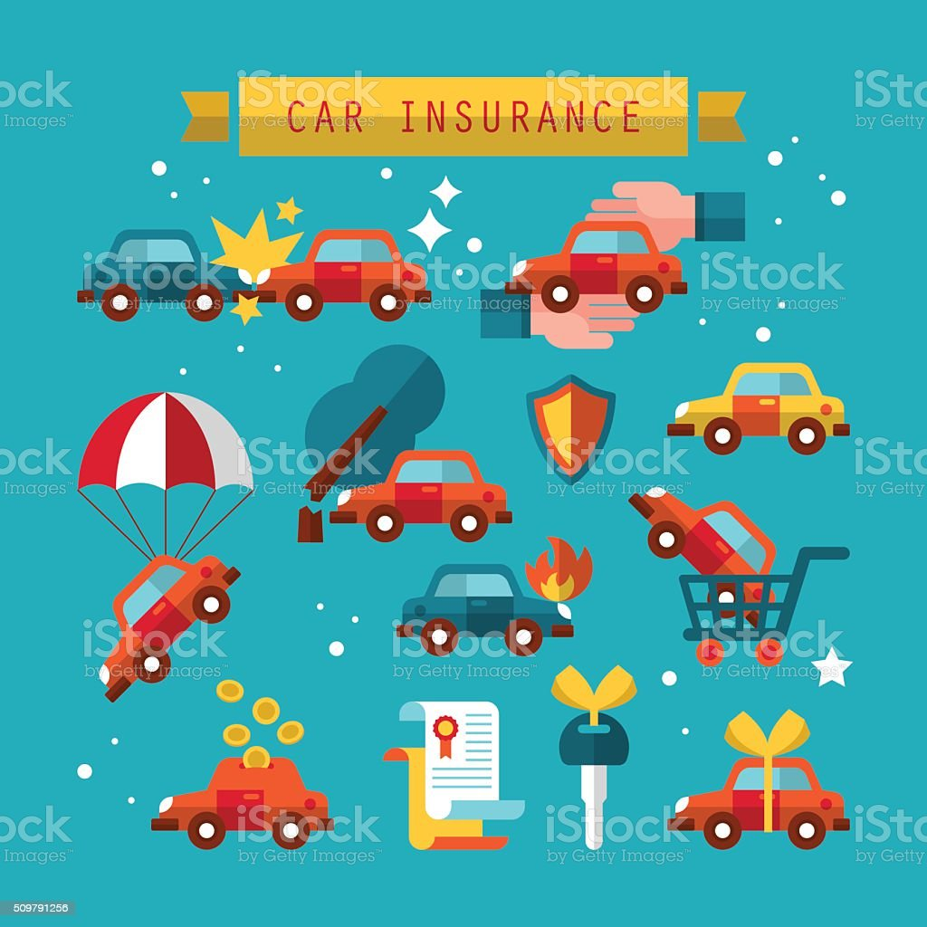 Car insurance icon set for graphic and web design. vector art illustration