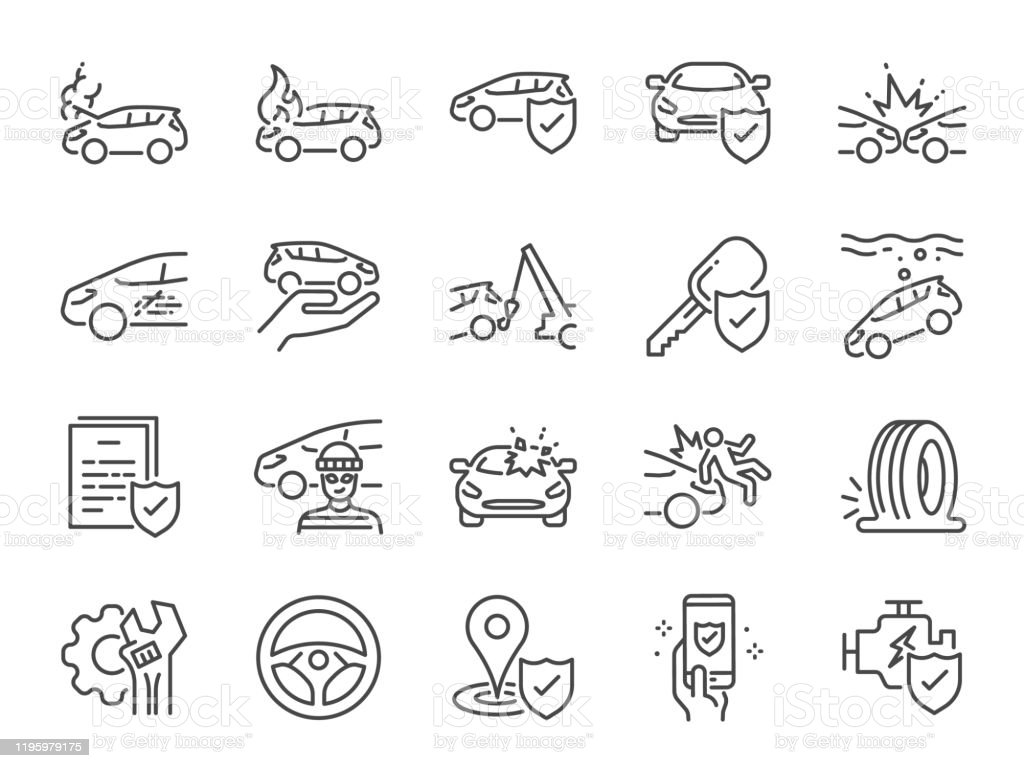 Car Insurance Icon Set Included Icons As Emergency Risk ...