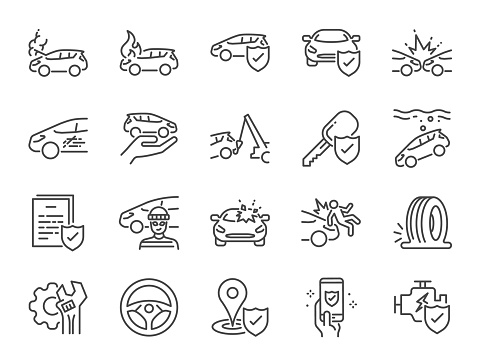 Car insurance icon set. Included icons as emergency, risk management, protection, accident, Side Collision, Front Collision, Broken Car and more.