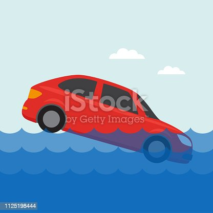 Flooded car icon in the water. Vector illustration for insurance service.