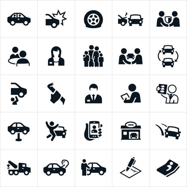 bildbanksillustrationer, clip art samt tecknat material och ikoner med bil försäkring ikoner - krockad bil