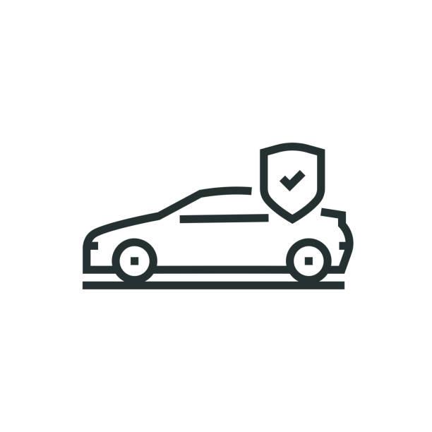 bildbanksillustrationer, clip art samt tecknat material och ikoner med bil försäkring linje-ikonen - krockad bil