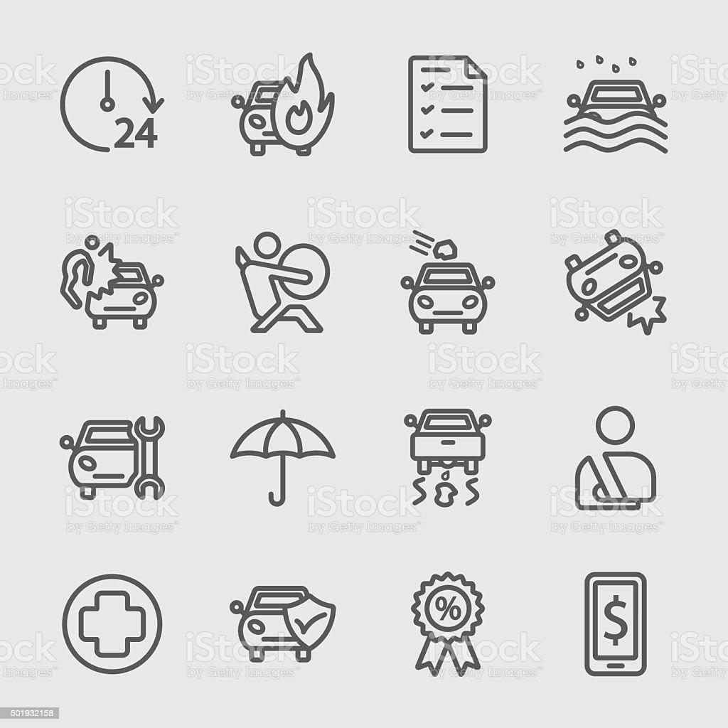 Car insurance line icon vector art illustration