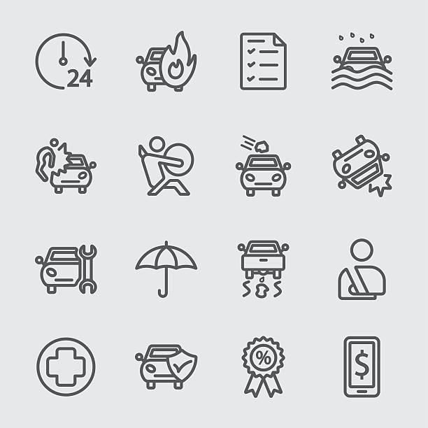 bildbanksillustrationer, clip art samt tecknat material och ikoner med car insurance line icon - krockad bil