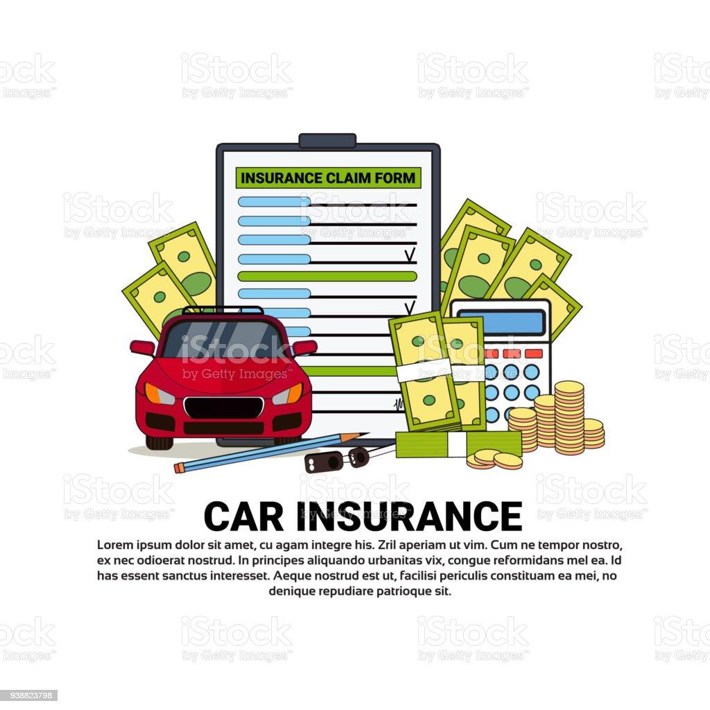 Banner de serviço seguro de carro com cópia espaço segurança da propriedade e o conceito de proteção - ilustração de arte em vetor
