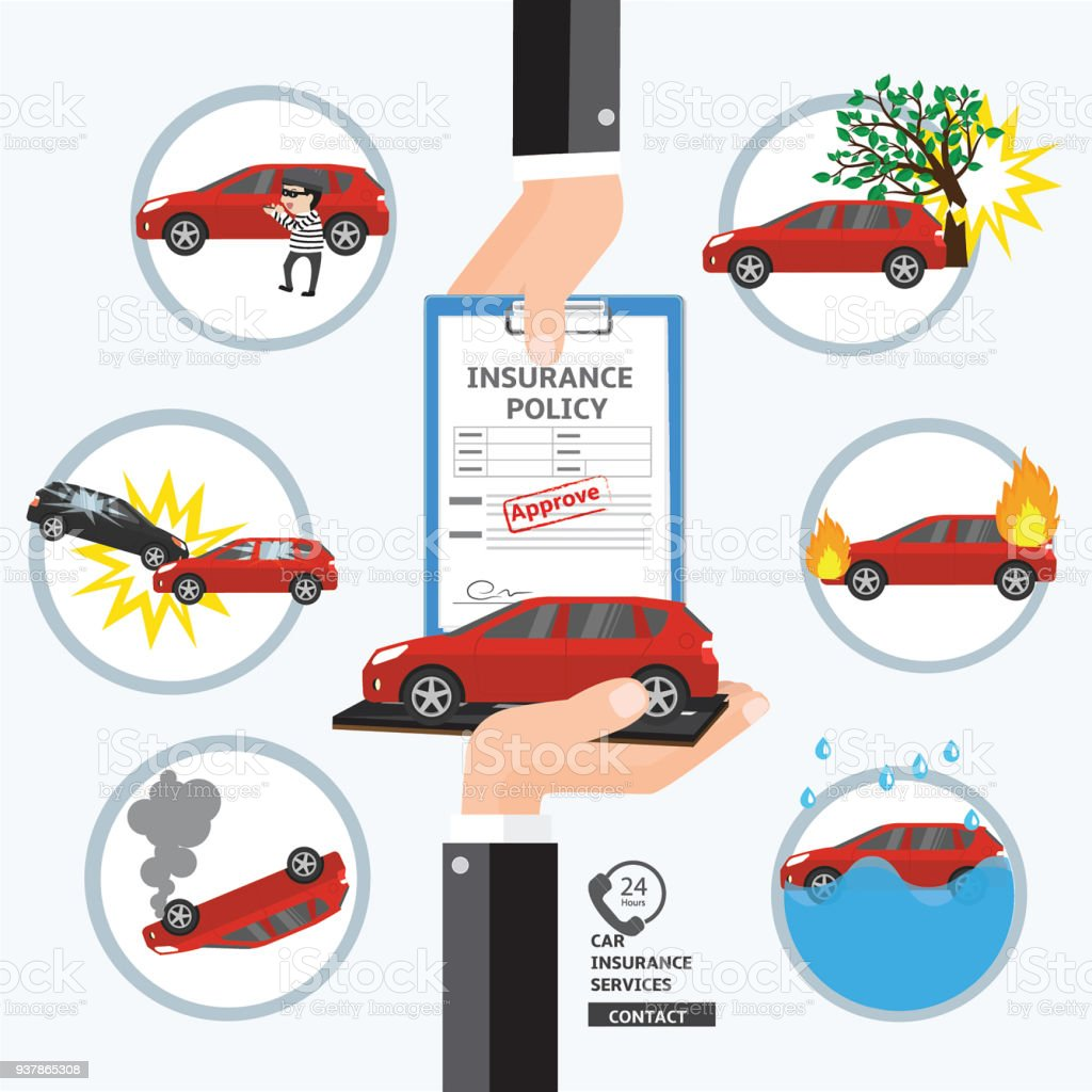 Car Insurance Service Safety And Protect Your Life Hand Business