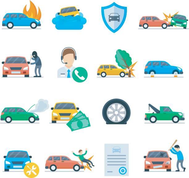 car insurance services icon set vector art illustration