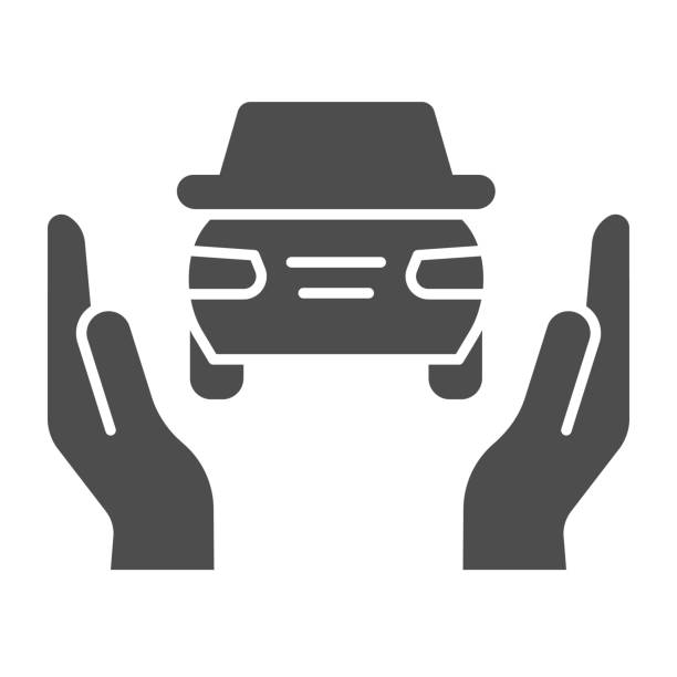 Car insurance solid icon. Auto protection, supporting by two hands symbol, glyph style pictogram on white background. Road accident sign for mobile concept and web design. Vector graphics. Car insurance solid icon. Auto protection, supporting by two hands symbol, glyph style pictogram on white background. Road accident sign for mobile concept and web design. Vector graphics car love stock illustrations