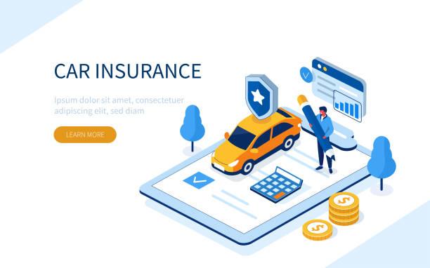 Kfz-Versicherung – Vektorgrafik