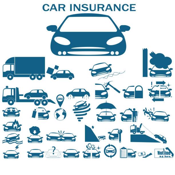 illustrazioni stock, clip art, cartoni animati e icone di tendenza di assicurazione auto - grandine