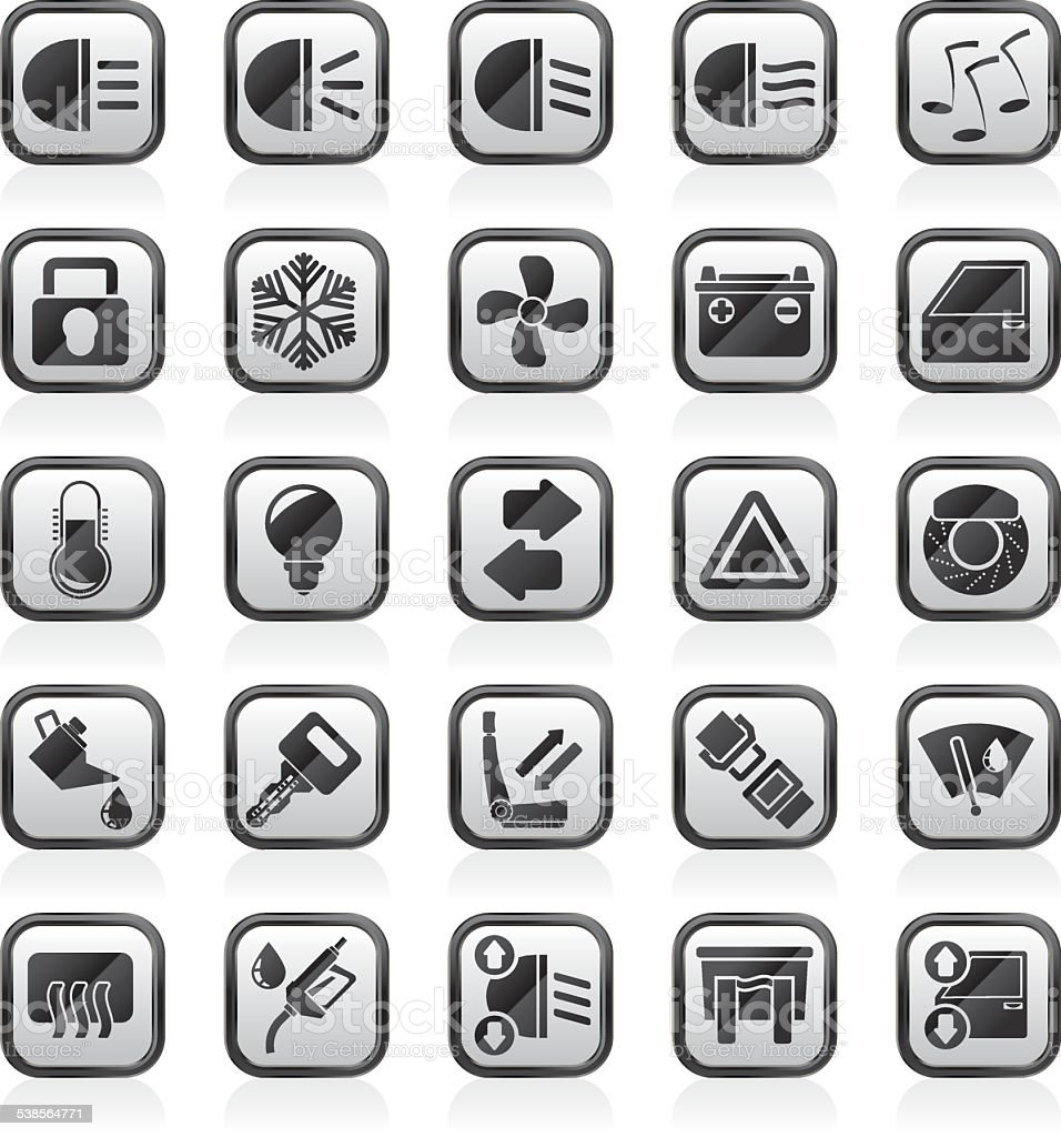 Car interface sign and icons vector art illustration