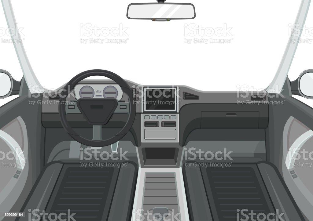 Auto-Innenausstattung. Innenansicht des Autos. Dashboard und Navigation-Panel. – Vektorgrafik