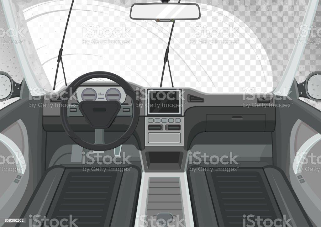 Auto-Innenausstattung. Innenansicht des Autos. Wischer reinigt die Frontscheibe. – Vektorgrafik