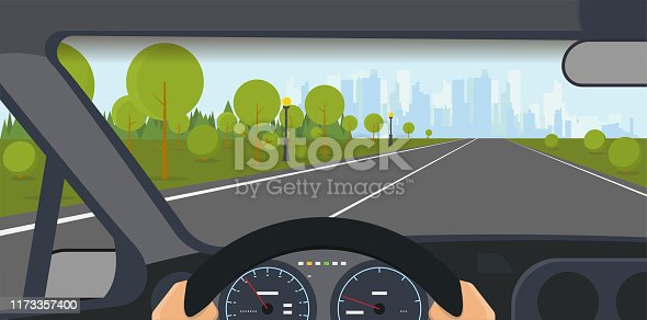 Inside car view. Modern car interior with steering wheel and hands. Highway to big city with skyscrapers and park. Speedometer and safe journey vector illustration.
