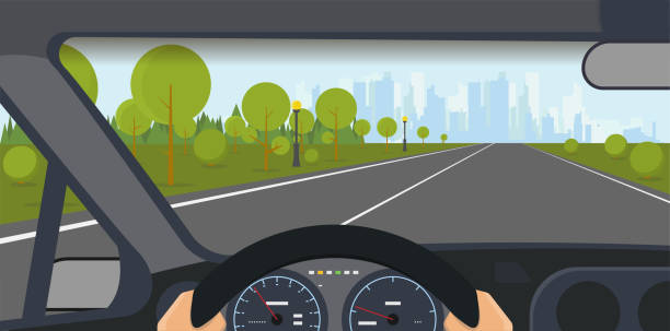 Car interior vector Inside car view. Modern car interior with steering wheel and hands. Highway to big city with skyscrapers and park. Speedometer and safe journey vector illustration. driveway stock illustrations
