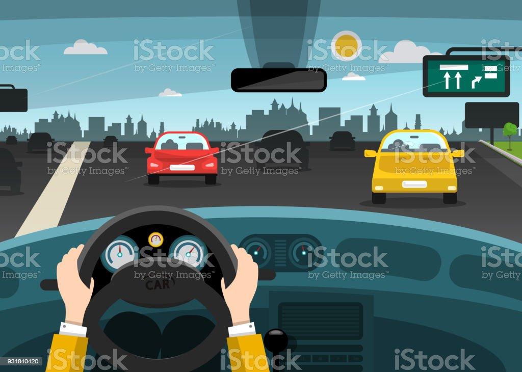 Car Interior with Hands on Steering Wheel vector art illustration