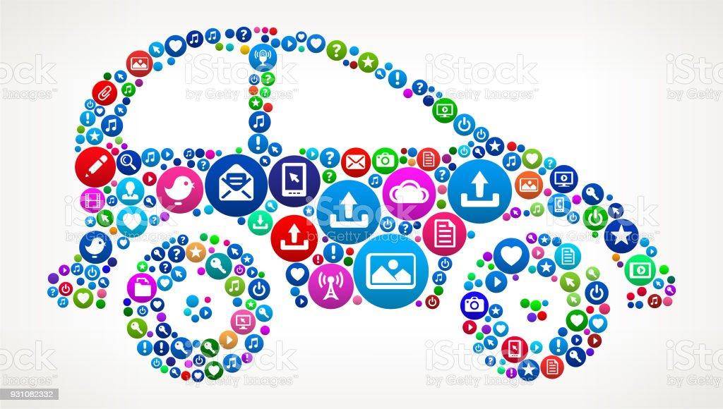 Car Internet Communication Technology Icon Pattern vector art illustration
