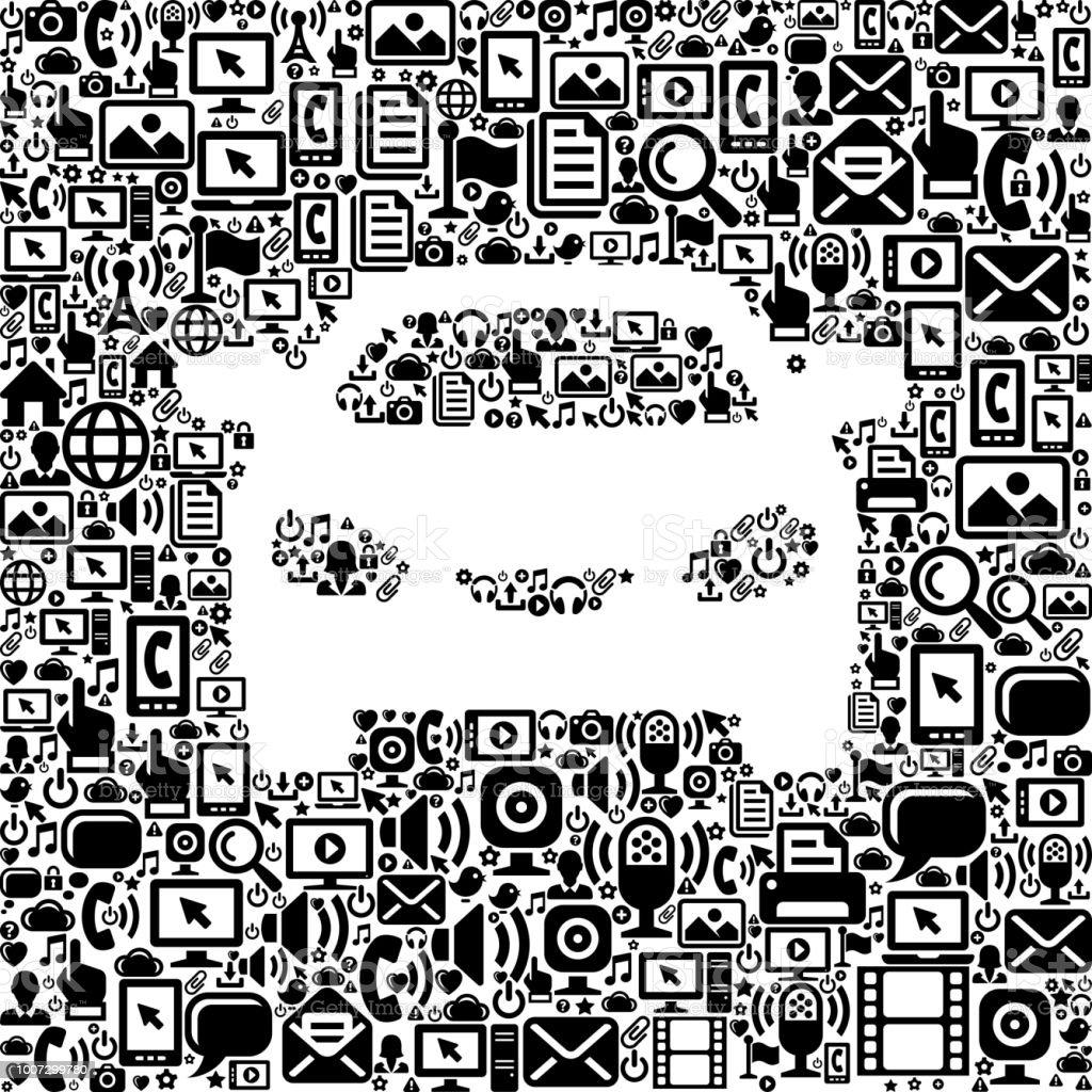 Car Internet Communication Technology Vector Icon Pattern vector art illustration