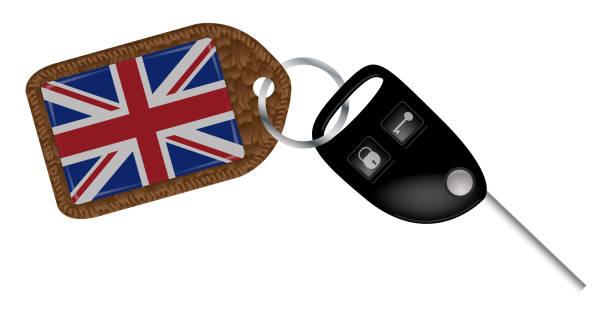 ilustrações, clipart, desenhos animados e ícones de fob e chave de carro uk - bandeira union jack