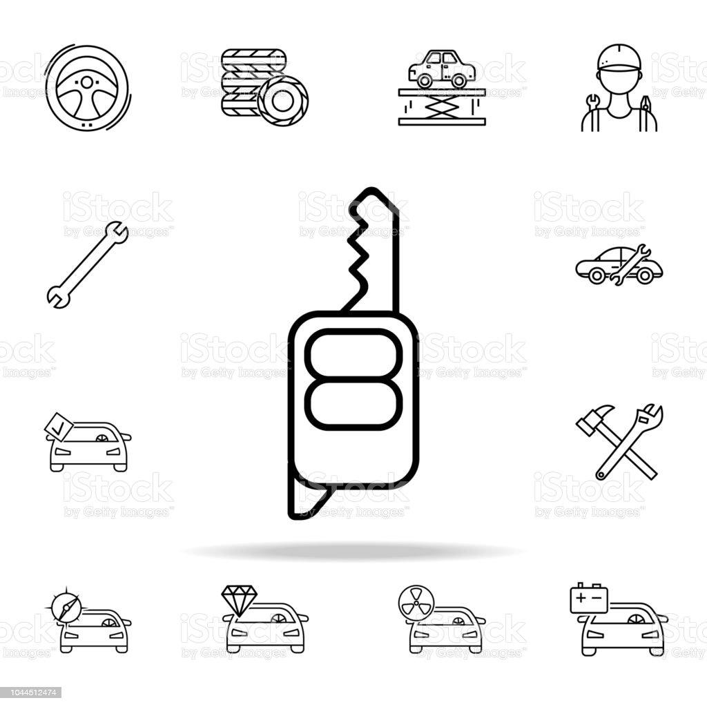 54666cc46 icono de llave de coche. Autos servicio y reparación de piezas iconos  conjunto universal para