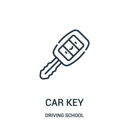 car key icon vector from driving school collection. Thin line car key outline icon vector illustration.