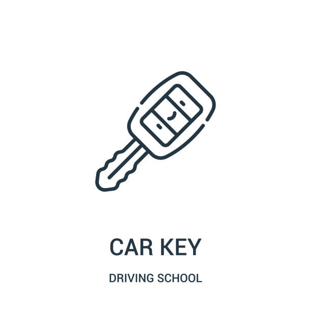 car key icon vector from driving school collection. Thin line car key outline icon vector illustration. car key icon vector from driving school collection. Thin line car key outline icon vector illustration. Linear symbol for use on web and mobile apps, logo, print media. car key stock illustrations