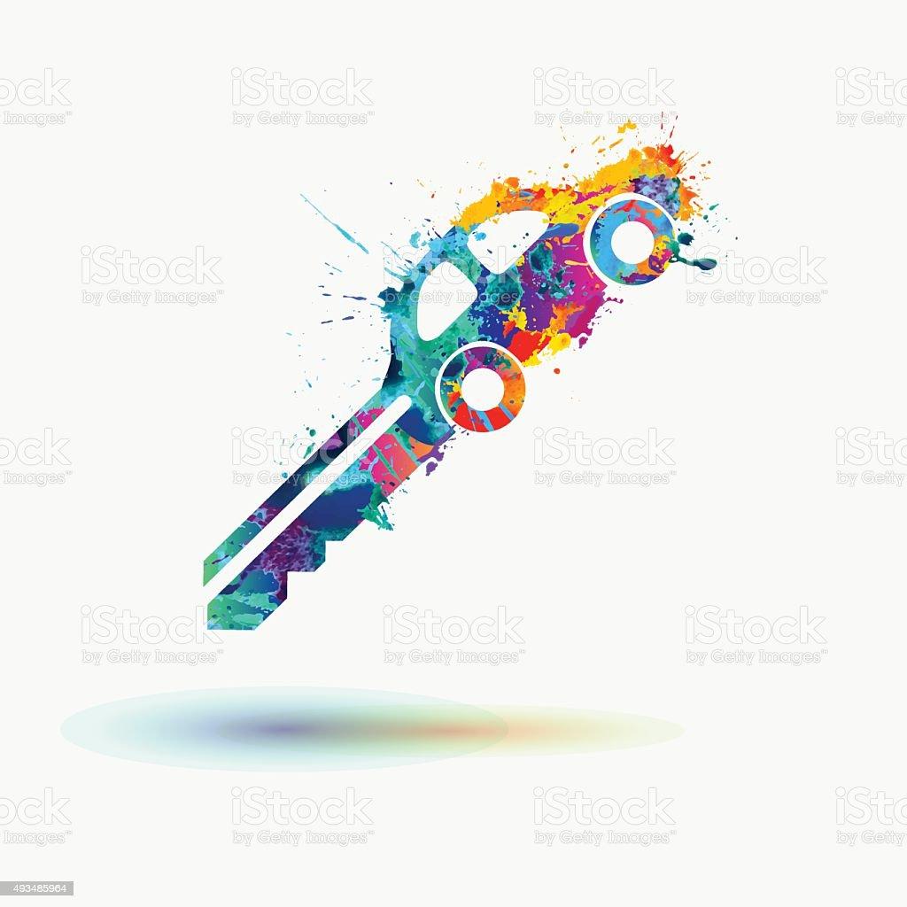 Car key rainbow splash icon vector art illustration