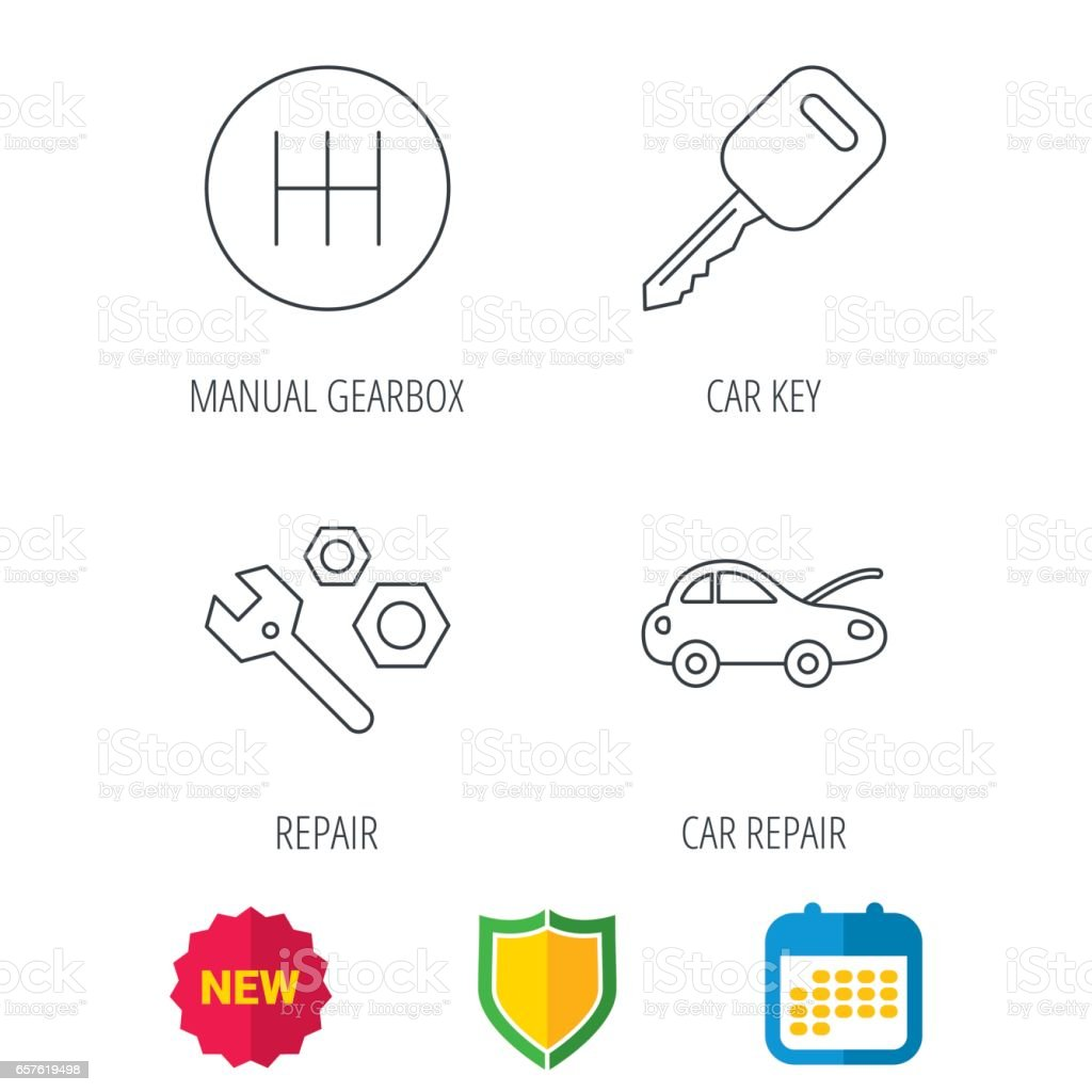 Car Key Repair Tools And Manual Gearbox Icons Stock Vector Art Diagram Royalty Free