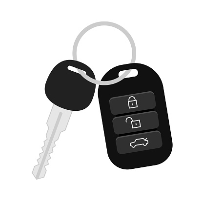 Car key security icon.  Vector illustration in flat style.