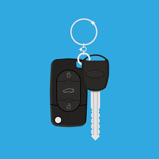 Car Key with alarm and chain Car Key with alarm and chain. vector illustration in flat style on blue background car key stock illustrations