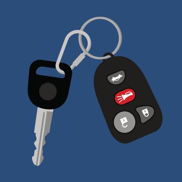 Car key with auto access padlock Car key on chain with black auto access padlock alarm security system vector illustration car key stock illustrations