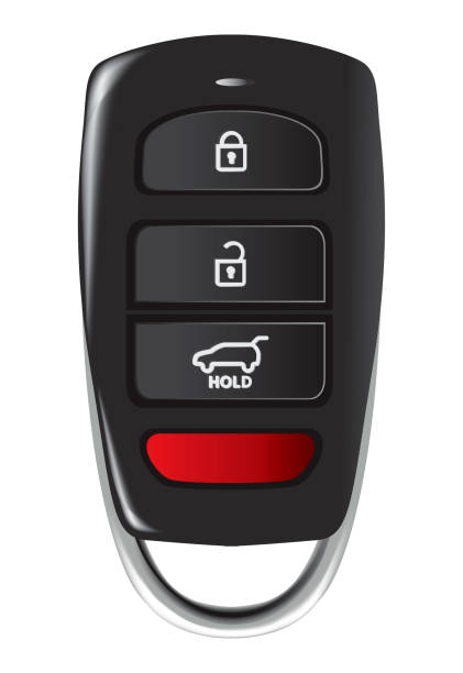 Car key with remote control Car key with remote control isolated over white background car key stock illustrations