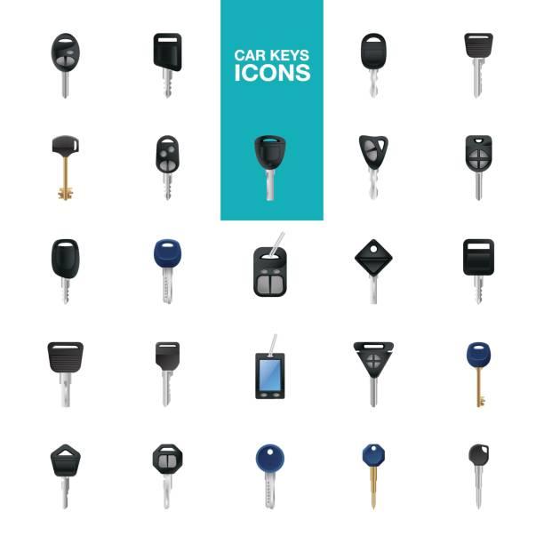 Car keys icons Key, Car Key, House Key, wireless key, Skeleton Key icons set car key stock illustrations