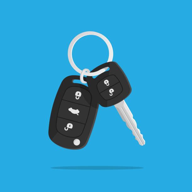 Car keys Car keys. Charm of the alarm system. Isolated vector illustration in flat style. car key stock illustrations
