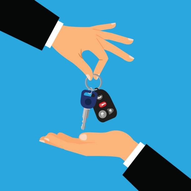Car keys with men hands Car keys with men hands flat vector illustration. Hand holding cars key for sale or rental designs car key stock illustrations