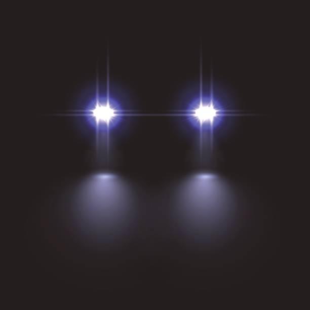 illustrations, cliparts, dessins animés et icônes de effet de lumière de voiture sur fond sombre. illustration vectorielle. - voiture nuit