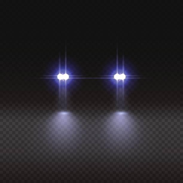 stockillustraties, clipart, cartoons en iconen met auto lichteffect op transparante achtergrond. vectorillustratie. - mist donker auto