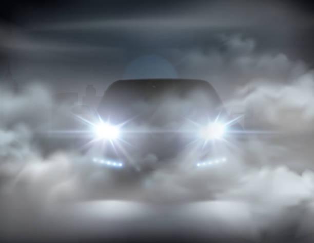 stockillustraties, clipart, cartoons en iconen met autoverlichting realistisch in mist - mist donker auto