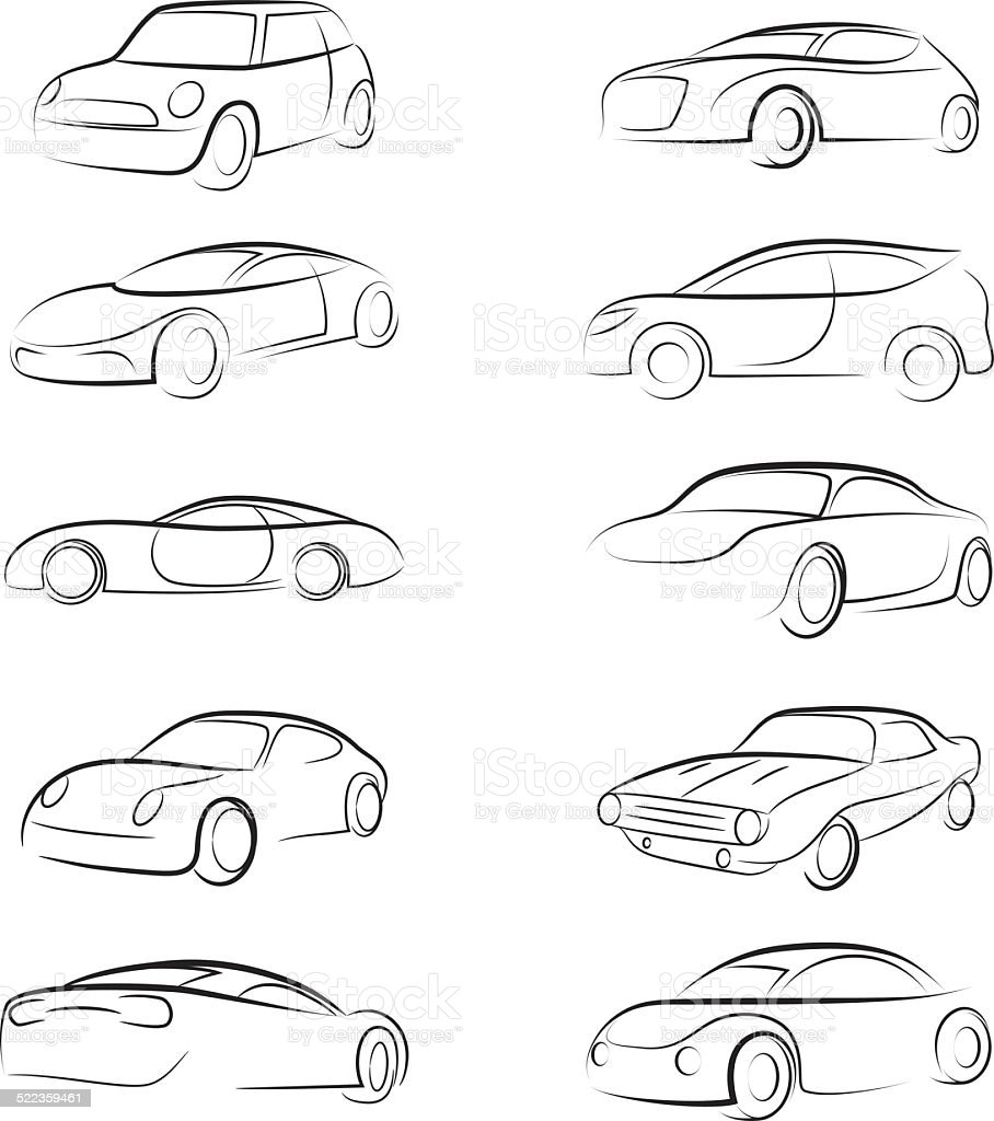 Car Line Brush vector art illustration