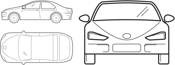 car, line design. top, front and side view - widok od przodu stock illustrations