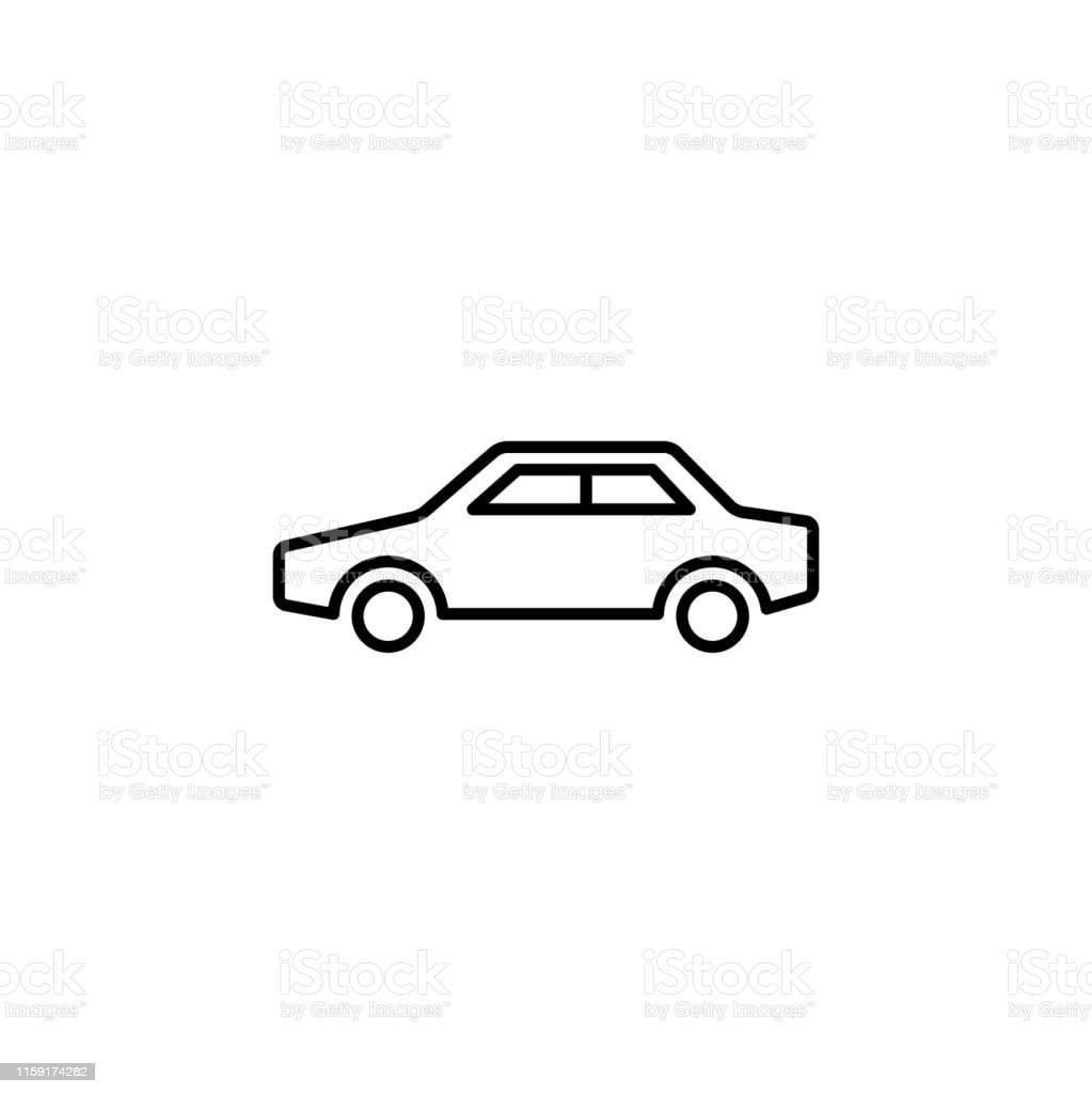 Car Line Icon In Flat Style Vector For Apps, UI, Websites. Black Icon...