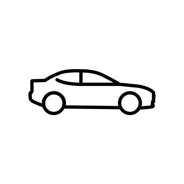 illustrazioni stock, clip art, cartoni animati e icone di tendenza di icona della linea dell'auto isolata su sfondo bianco - auto