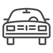 Car line icon, transport symbol, passenger automobile vector sign on white background, auto icon in outline style for mobile concept and web design. Vector graphics